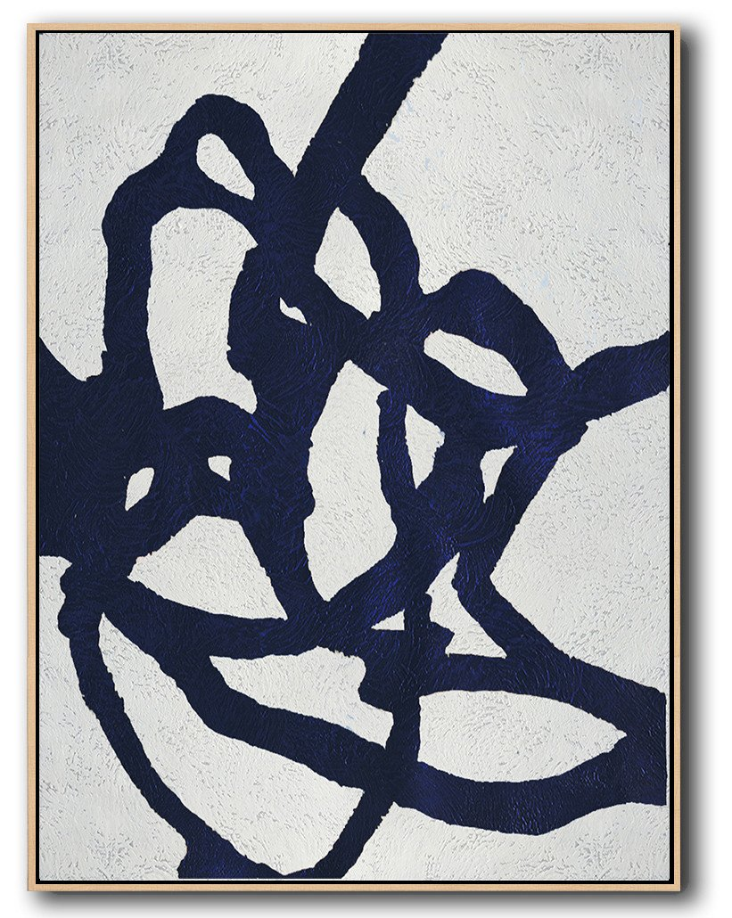 Large Abstract Painting,Navy Blue Abstract Painting Online,Hand Painted Original Art