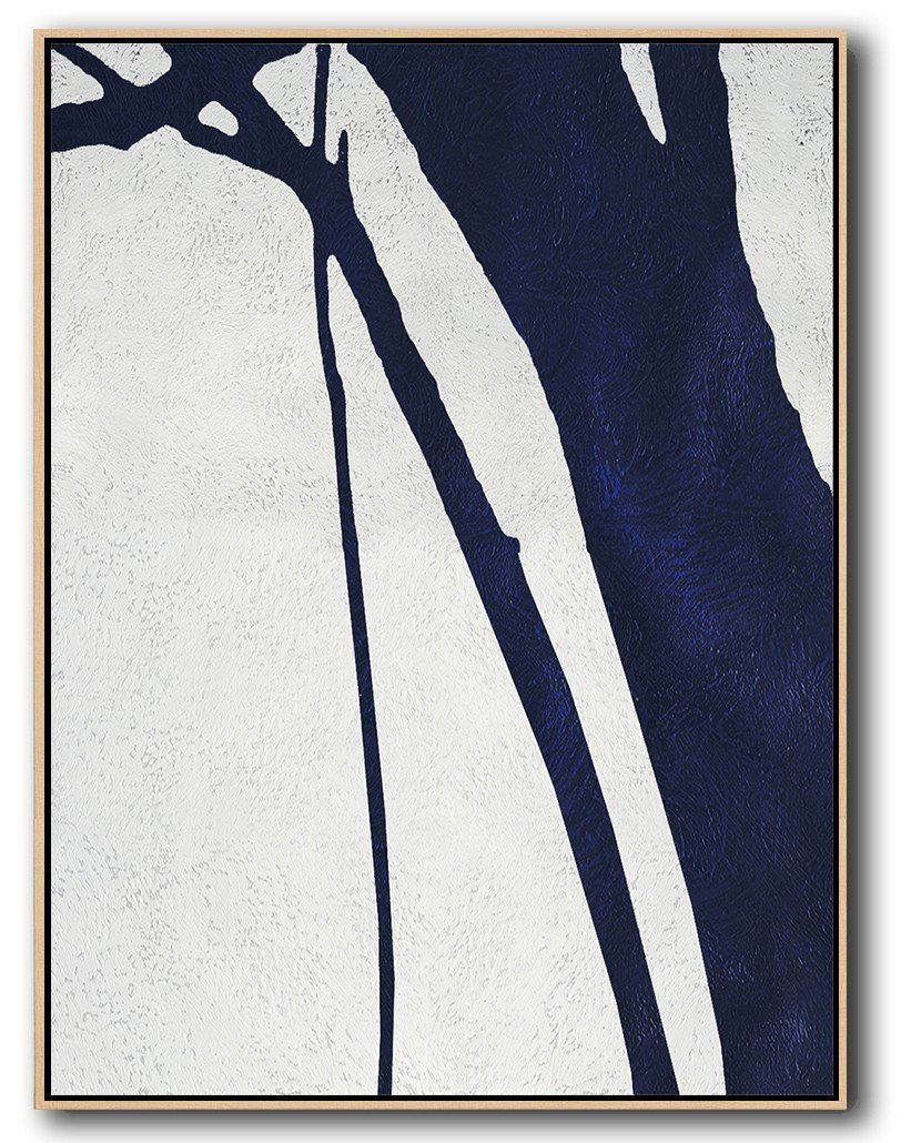 Large Paintings For Living Room,Navy Blue Abstract Painting Online,Giant Canvas Wall Art