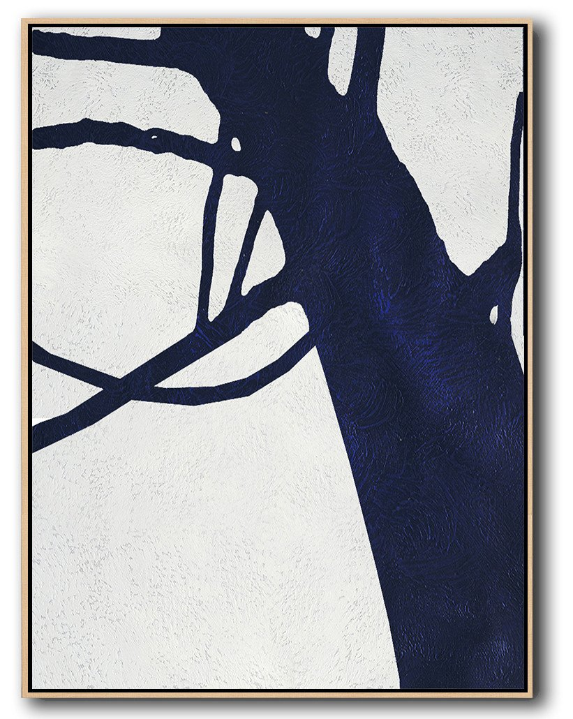 Extra Large Paintings,Navy Blue Abstract Painting Online,Living Room Canvas Art