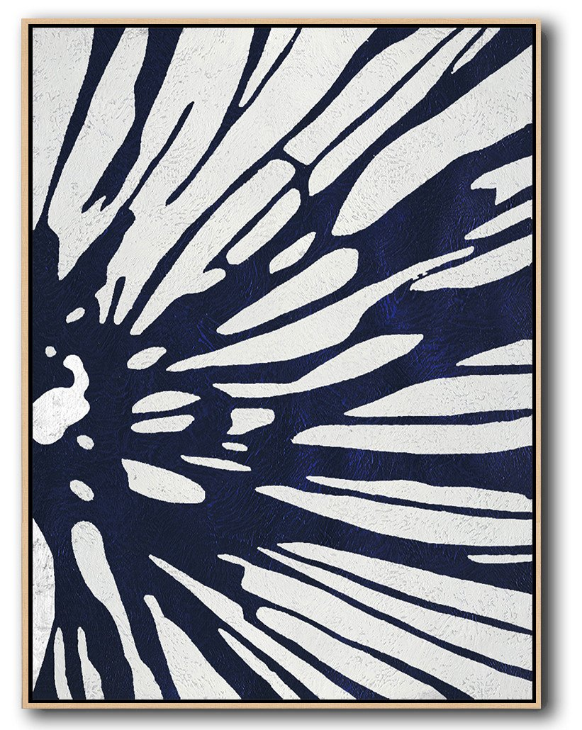 Large Contemporary Art Acrylic Painting,Navy Blue Abstract Painting Online,Modern Art Abstract Painting