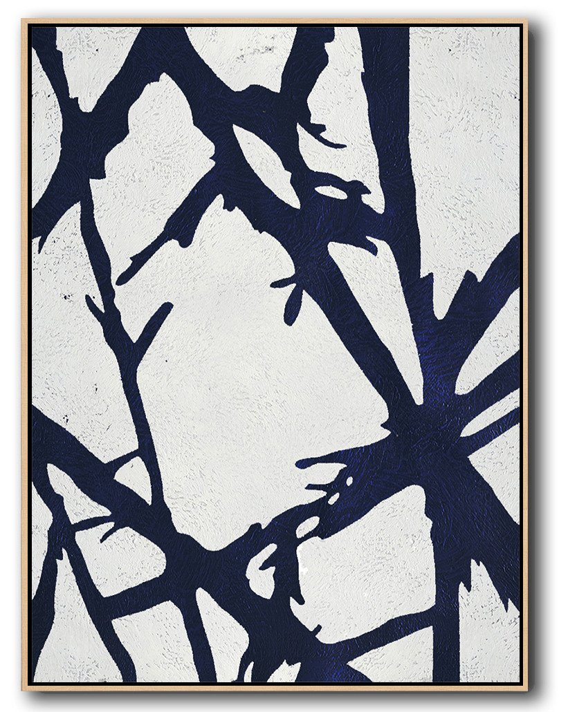 Abstract Painting Extra Large Canvas Art,Navy Blue Abstract Painting Online,Large Contemporary Art Canvas Painting