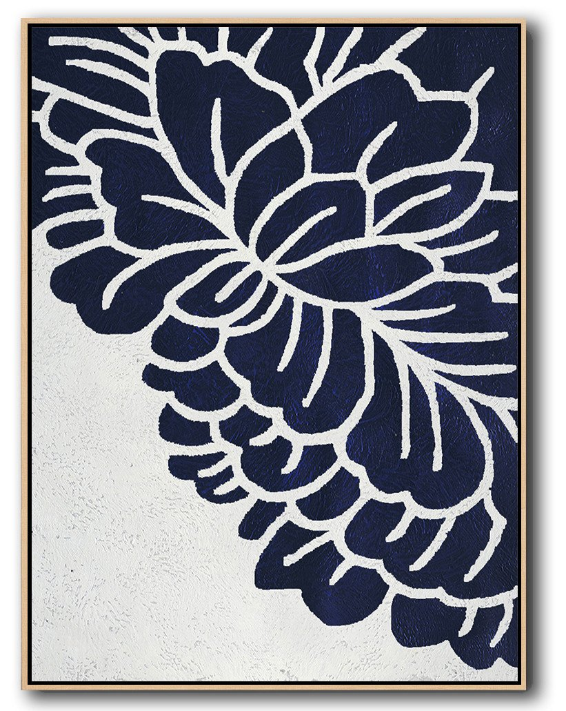 Living Room Wall Art Navy Blue Abstract Painting Online