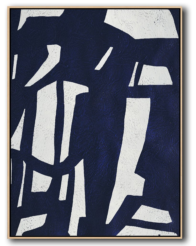 "Extra Large 72"" Acrylic Painting,Navy Blue Abstract Painting Online,Hand Painted Original Art"
