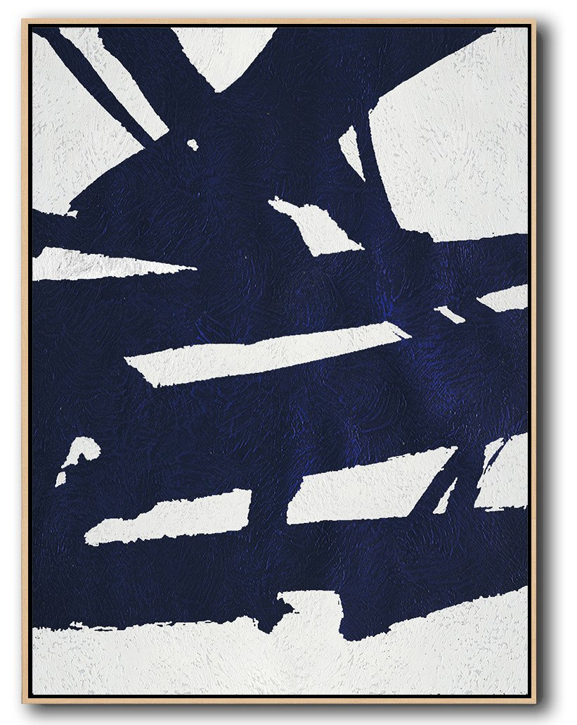 Extra Large Canvas Art,Navy Blue Abstract Painting Online,Custom Canvas Wall Art