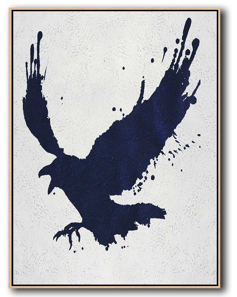 Hand-Painted Canvas Art,Navy Blue Abstract Painting Online,Modern Paintings On Canvas