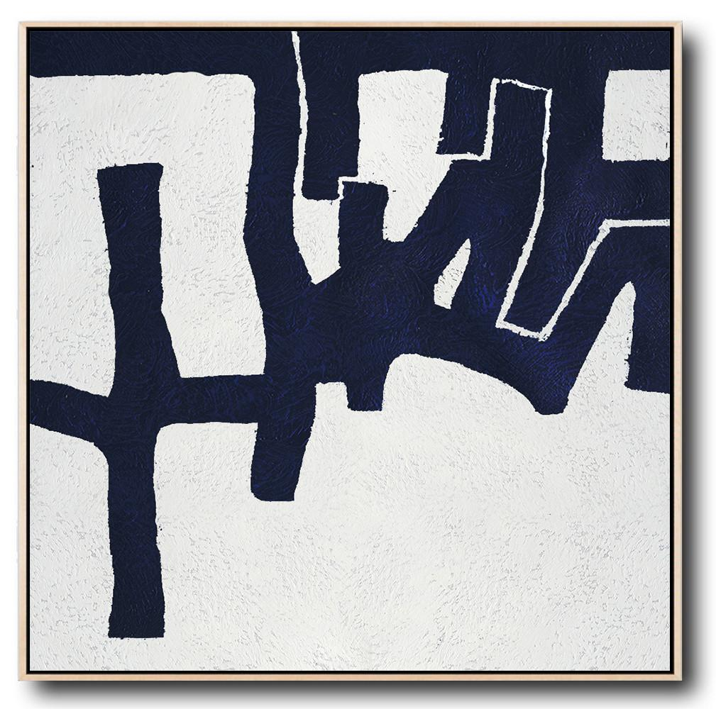 Extra Large Abstract Painting On Canvas,Hand Painted Navy Minimalist Painting On Canvas,Modern Art Abstract Painting