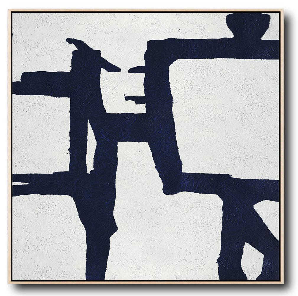 Extra Large Acrylic Painting On Canvas,Hand Painted Navy Minimalist Painting On Canvas,Modern Art Abstract Painting