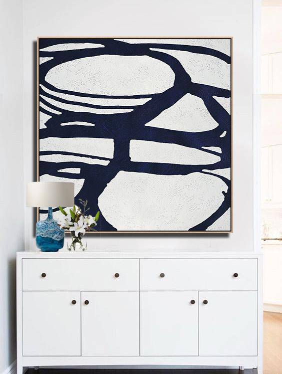 Abstract Painting Extra Large Canvas Art,Hand Painted Navy Minimalist Painting On Canvas,Acrylic Painting Large Wall Art