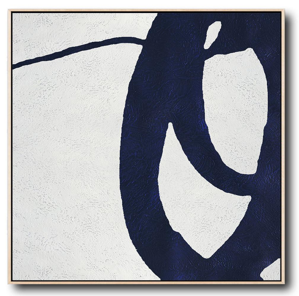 Large Contemporary Art Acrylic Painting,Hand Painted Navy Minimalist Painting On Canvas,Acrylic Painting Large Wall Art