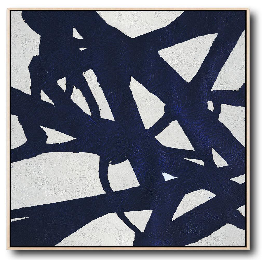 Hand Painted Extra Large Abstract Painting,Hand Painted Navy Minimalist Painting On Canvas,Big Canvas Painting