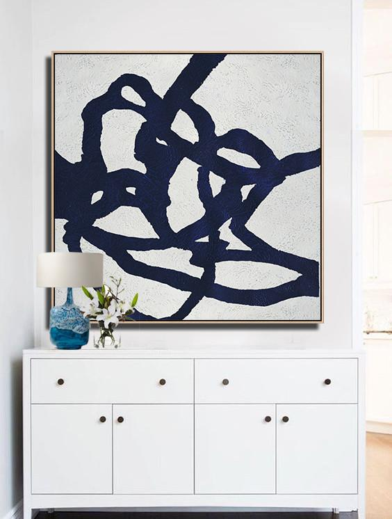 Abstract Painting Extra Large Canvas Art,Hand Painted Navy Minimalist Painting On Canvas,Large Oil Canvas Art