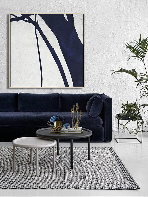 Huge Abstract Canvas Art,Hand Painted Navy Minimalist Painting On Canvas,Modern Art Abstract Painting