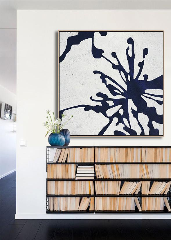 Hand Painted Extra Large Abstract Painting,Hand Painted Navy Minimalist Painting On Canvas,Large Canvas Art