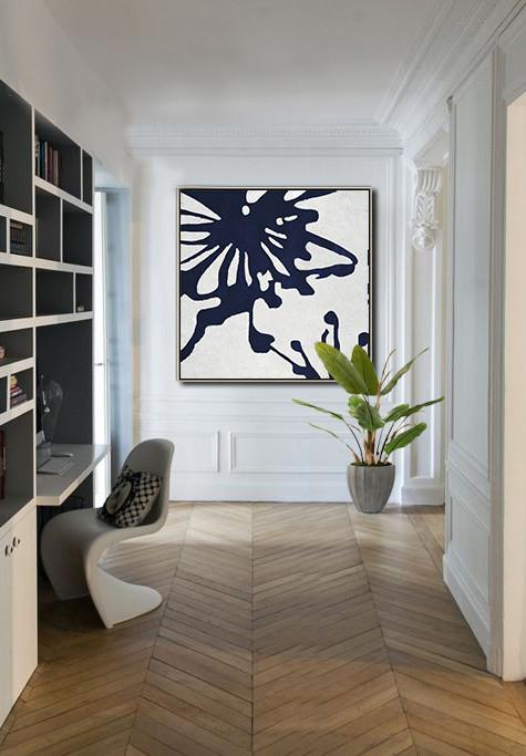 Large Abstract Art,Hand Painted Navy Minimalist Painting On Canvas,Hand Painted Acrylic Painting