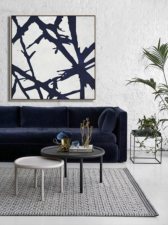 Abstract Painting Extra Large Canvas Art,Hand Painted Navy Minimalist Painting On Canvas,Handmade Acrylic Painting - Click Image to Close