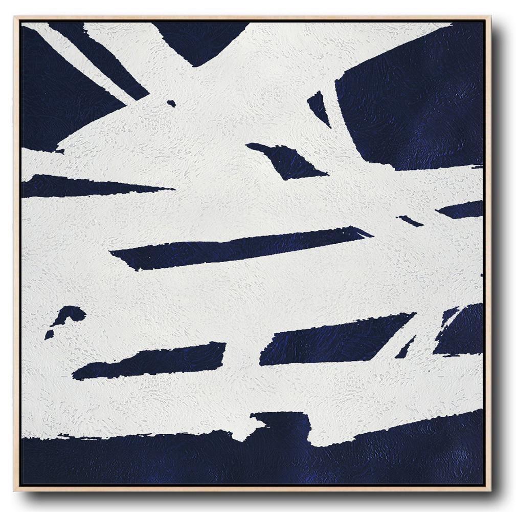 Original Abstract Painting Extra Large Canvas Art,Hand Painted Navy Minimalist Painting On Canvas,Modern Canvas Art