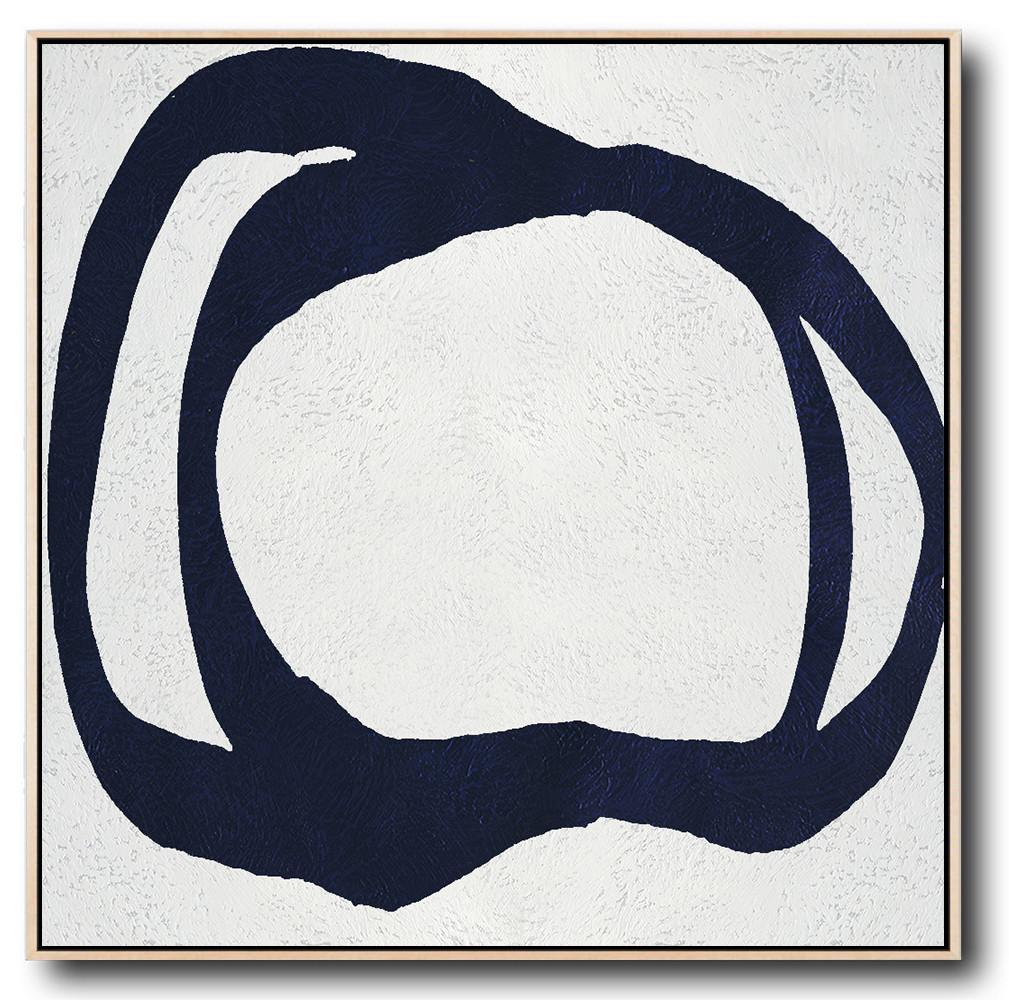 Original Extra Large Wall Art,Hand Painted Navy Minimalist Painting On Canvas,Modern Art