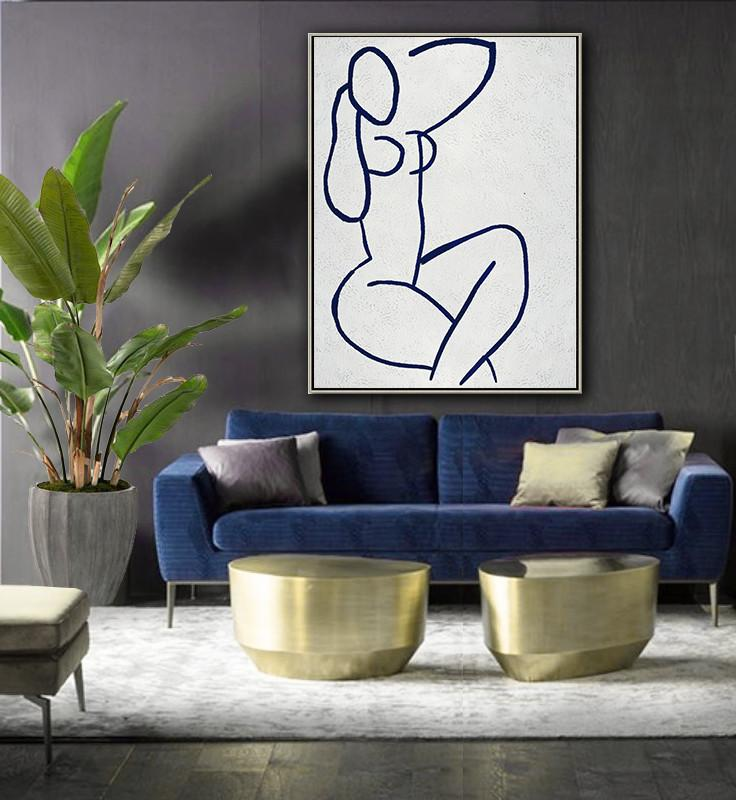 Abstract Painting Extra Large Canvas Art,Navy Blue Abstract Painting Nude Art Online,Hand Painted Abstract Art