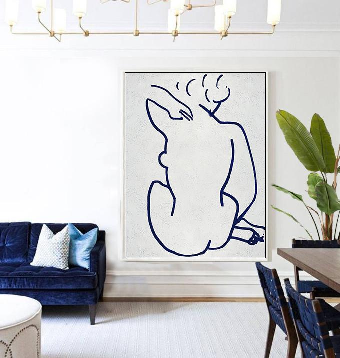 Extra Large Canvas Art,Navy Blue Abstract Painting Nude Art Online,Hand-Painted Canvas Art