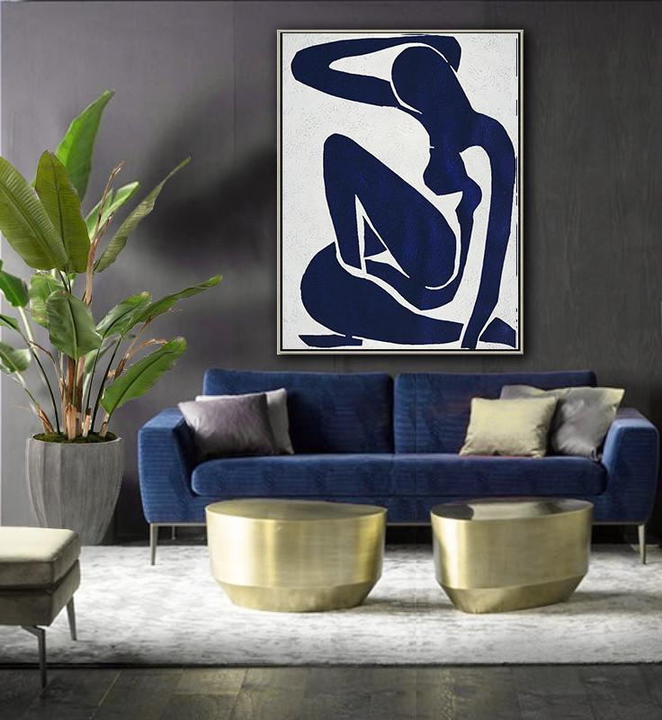 Hand-Painted Contemporary Art,Navy Blue Abstract Painting Nude Art Online,Large Abstract Art Handmade Acrylic Painting