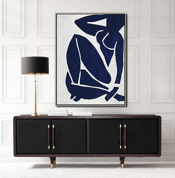 Modern Art Abstract Painting,Navy Blue Abstract Painting Nude Art Online,Extra Large Wall Art