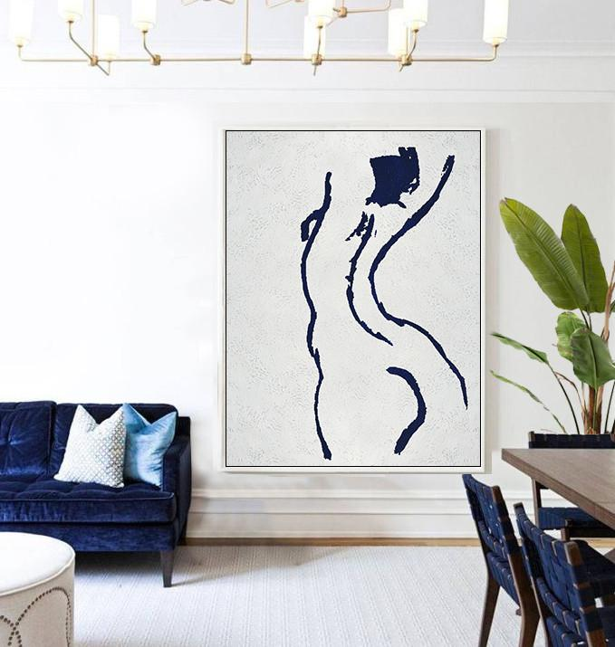 Hand Painted Acrylic Painting,Navy Blue Abstract Painting Nude Art Online,Original Abstract Painting Canvas Art