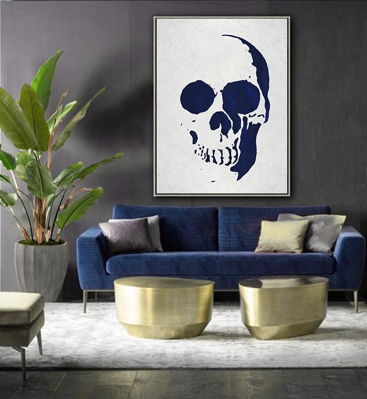 Large Contemporary Art Canvas Painting,Navy Blue Abstract Painting Skull Art Online,Large Canvas Art,Modern Art Abstract Painting