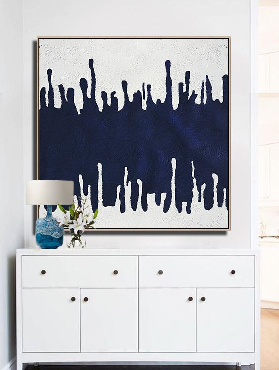Handmade Large Contemporary Art,Minimalist Navy Blue And White Painting,Contemporary Canvas Paintings