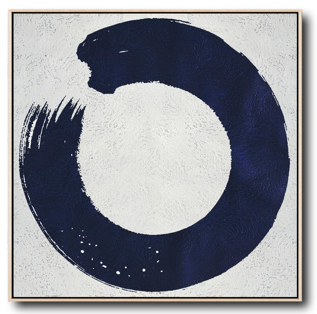 Extra Large Abstract Painting On Canvas,Minimalist Navy Blue And White Painting,Modern Paintings On Canvas