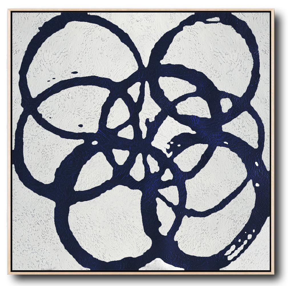 "Extra Large 72"" Acrylic Painting,Minimalist Navy Blue And White Painting,Extra Large Artwork"