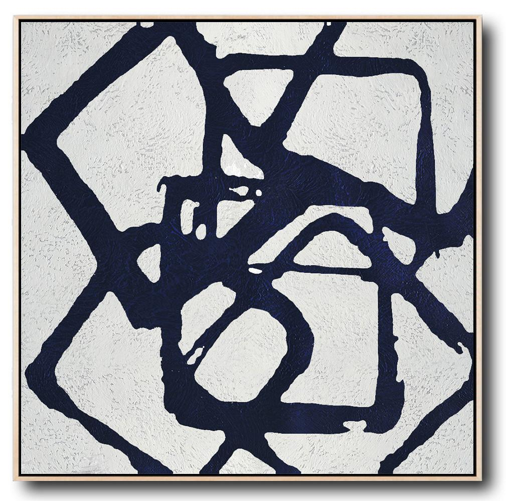 Hand Made Abstract Art,Minimalist Navy Blue And White Painting,Large Wall Canvas
