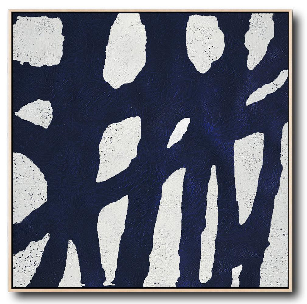 Original Painting Hand Made Large Abstract Art,Hand-Painted Oversized Minimalist Navy Blue And White Painting,Canvas Paintings For Sale