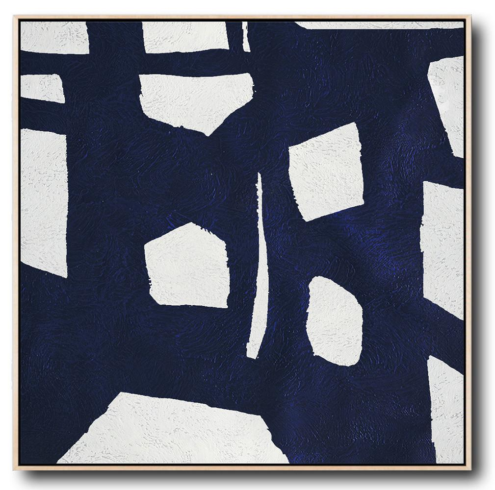 Abstract Painting Extra Large Canvas Art,Minimalist Navy Blue And White Painting,Wall Art Ideas For Living Room