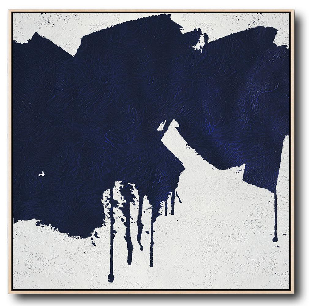 Large Modern Abstract Painting,Minimalist Navy Blue And White Painting,Personalized Canvas Art
