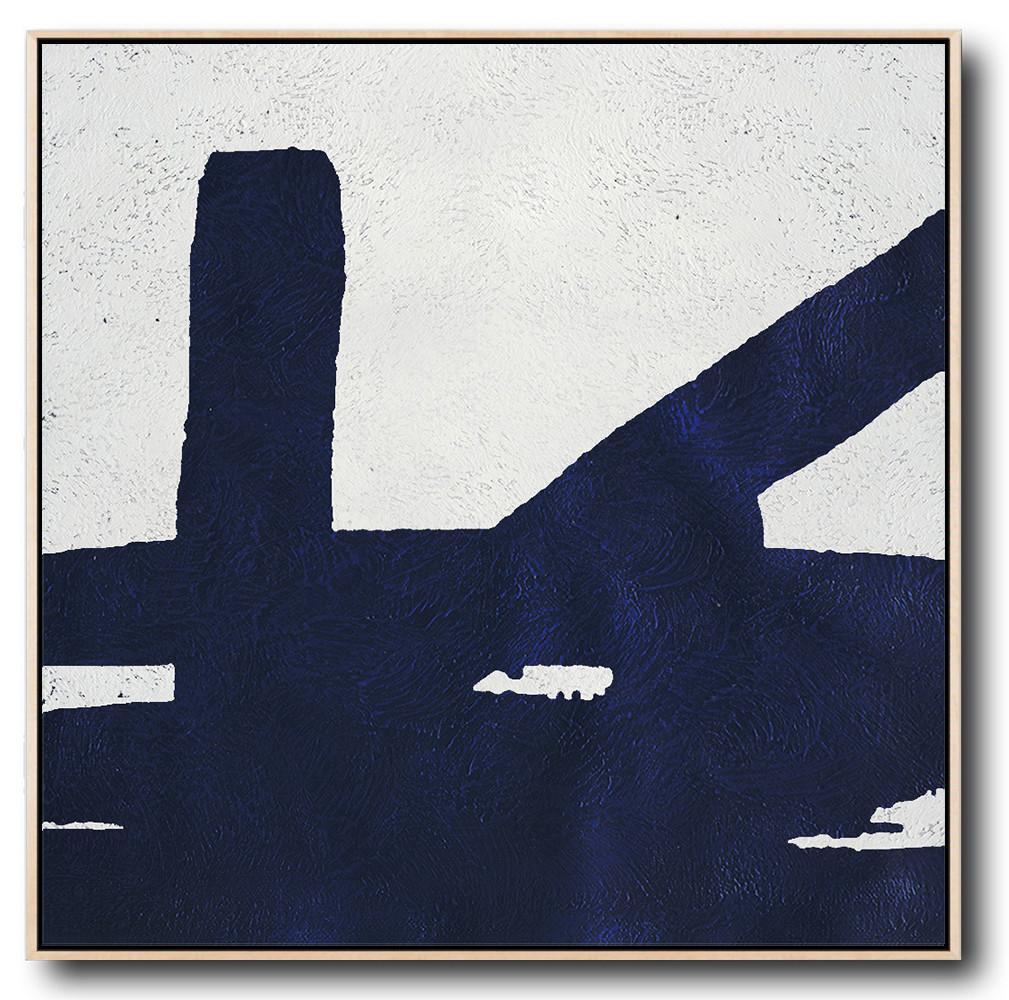 Extra Large Painting,Minimalist Navy Blue And White Painting,Large Wall Canvas Paintings