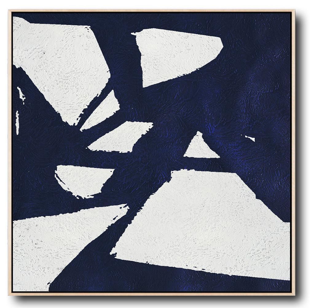 Abstract Painting Extra Large Canvas Art,Minimalist Navy Blue And White Painting,Big Living Room Decor