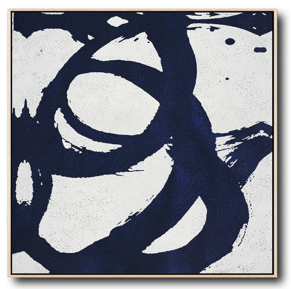 Abstract Painting Extra Large Canvas Art,Minimalist Navy Blue And White Painting,Big Wall Art For Living Room