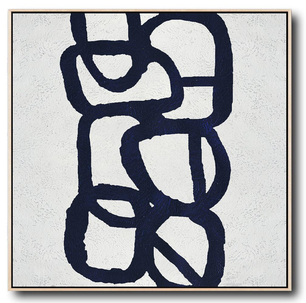 Extra Large Abstract Painting On Canvas,Minimalist Navy Blue And White Painting,Family Wall Decor
