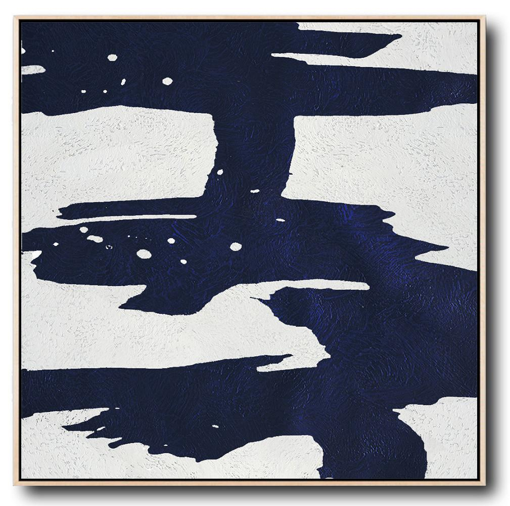 Hand Made Abstract Art,Minimalist Navy Blue And White Painting,Lounge Wall Decor