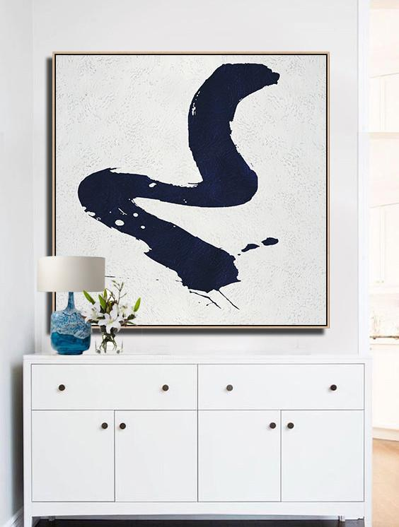 Handmade Extra Large Contemporary Painting,Minimalist Navy Blue And White Painting,Modern Art Oil Painting