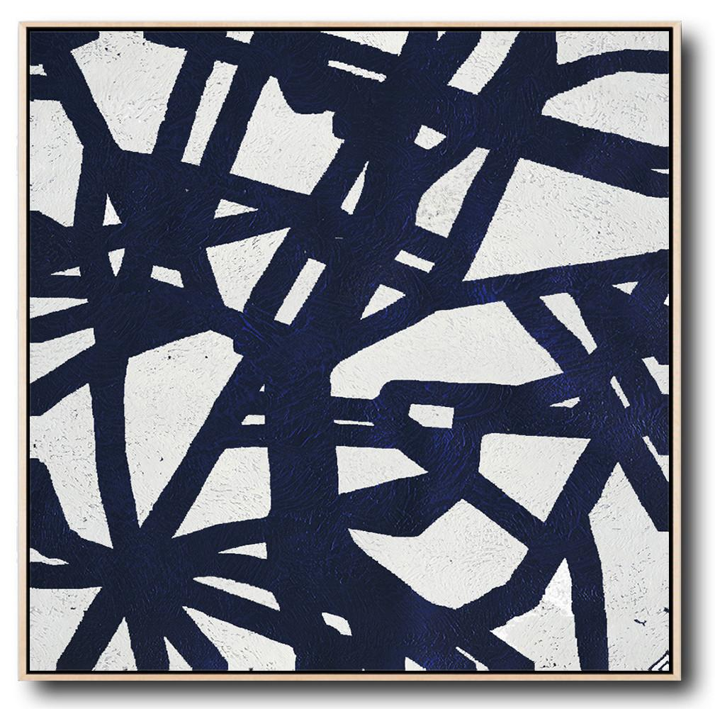 Large Abstract Painting,Minimalist Navy Blue And White Painting,Multicolor Abstract Painting