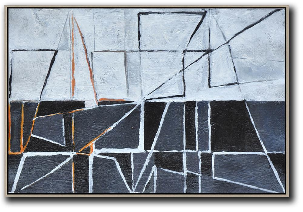 Large Abstract Art Handmade Oil Painting,Horizontal Minimal Art,Hand Painted Acrylic Painting