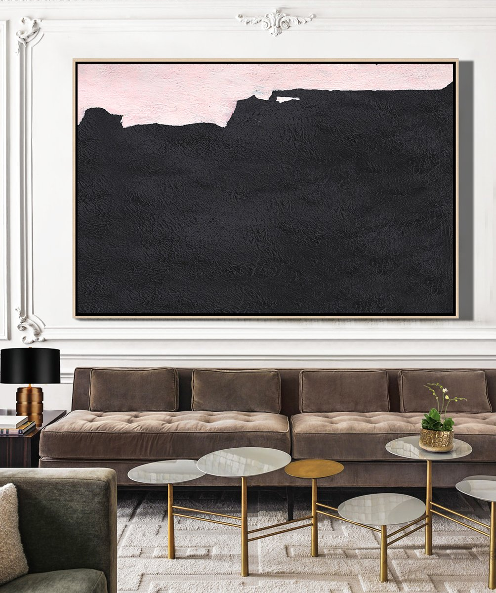 Extra Large Abstract Painting On Canvas,Hand-Painted Oversized Horizontal Minimal Art On Canvas,Abstract Painting For Home