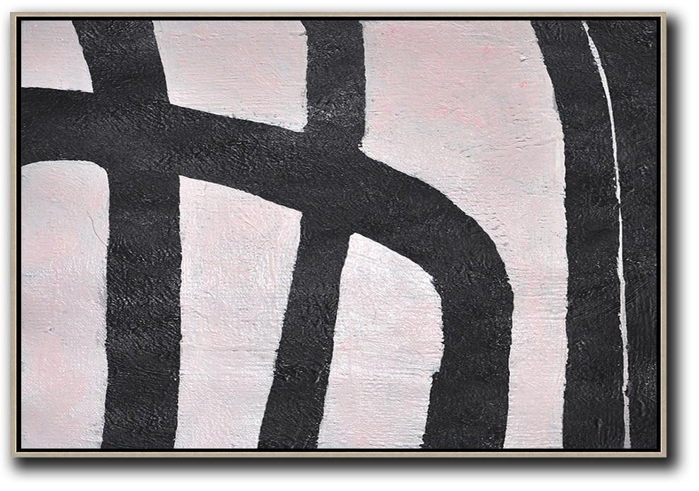 Hand Made Abstract Art,Hand-Painted Oversized Horizontal Minimal Art On Canvas,Original Abstract Oil Paintings