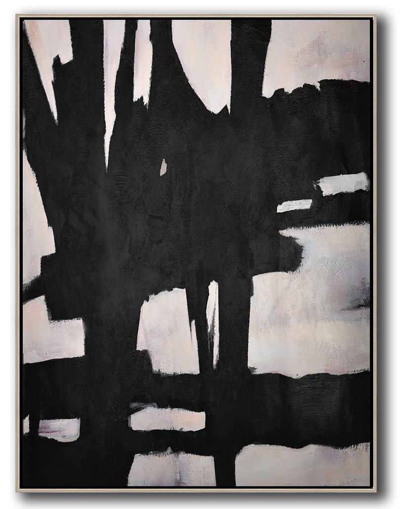 Original Extra Large Wall Art,Hand-Painted Black And White Minimal Painting On Canvas,Hand-Painted Contemporary Art