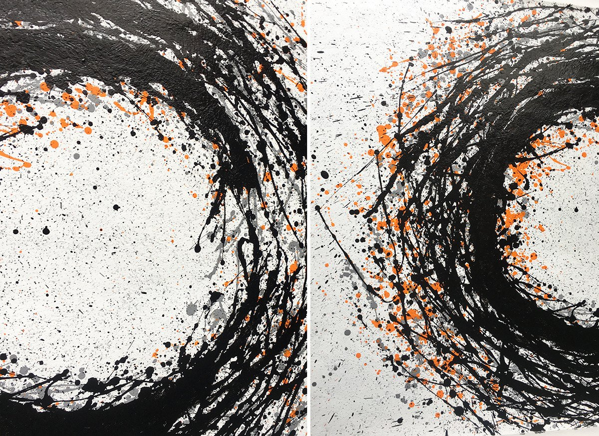 Extra Large Acrylic Painting On Canvas,Hand-Painted Black And White Minimal Painting On Canvas,Large Colorful Wall Art