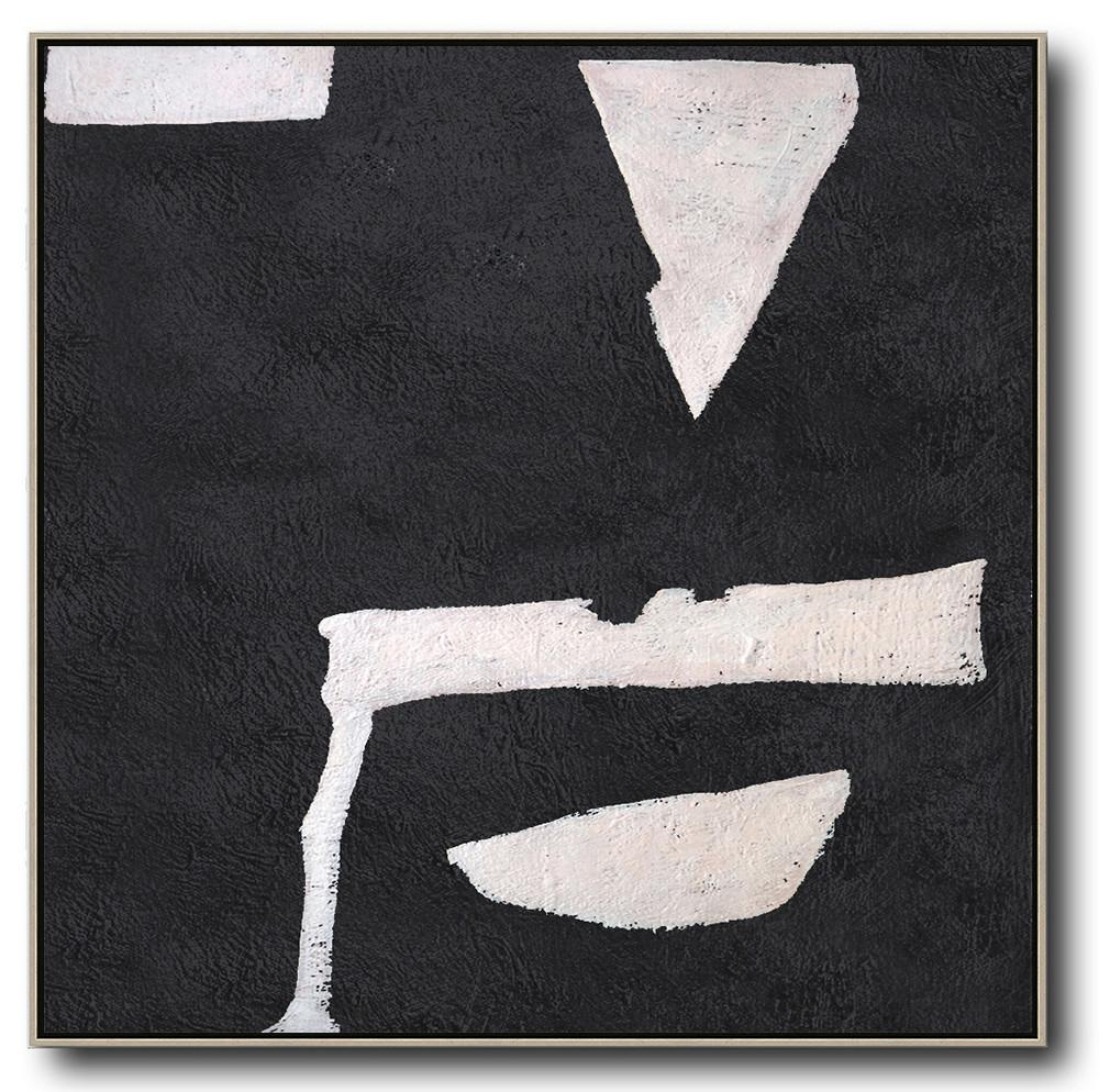 Extra Large Textured Painting On Canvas,Hand-Painted Oversized Minimal Black And White Painting,Contemporary Wall Art