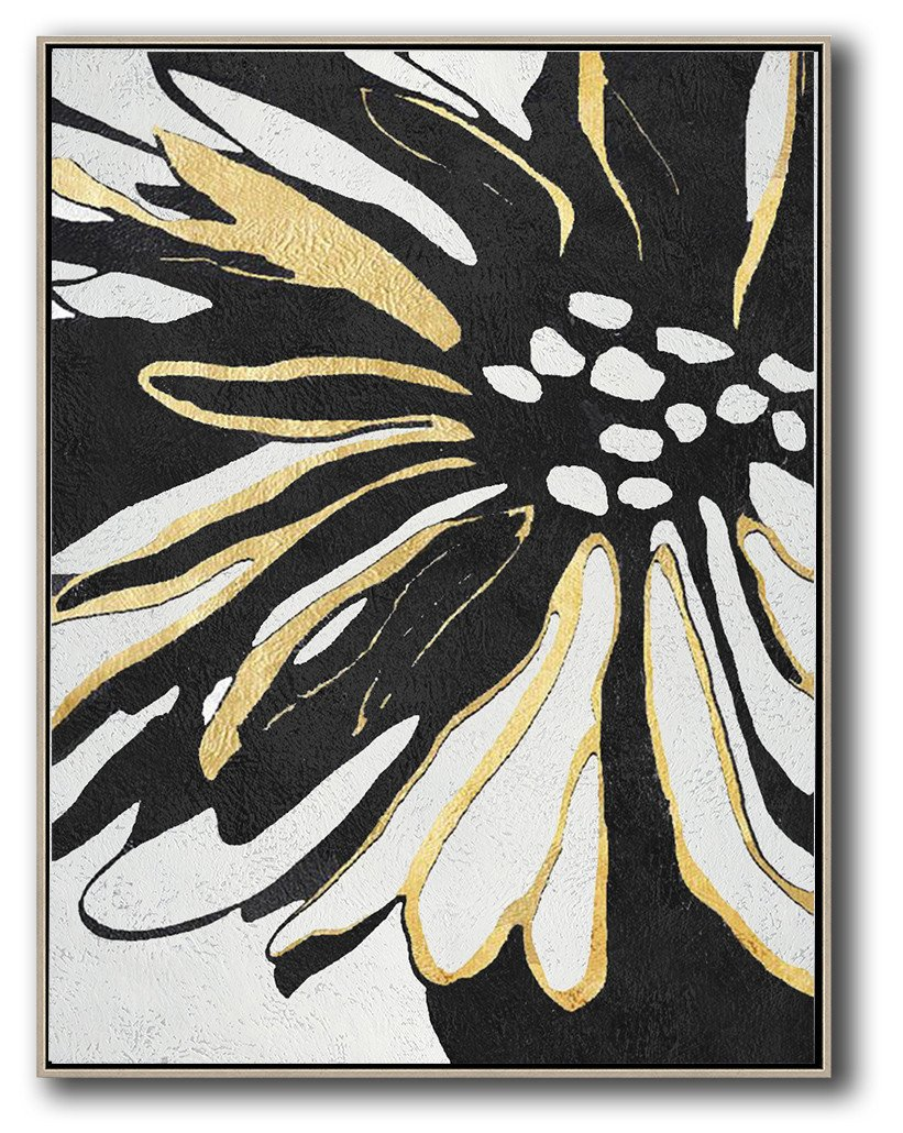Huge Abstract Painting On Canvas,Hand-Painted Black And White Minimal Painting On Canvas,Big Art Canvas