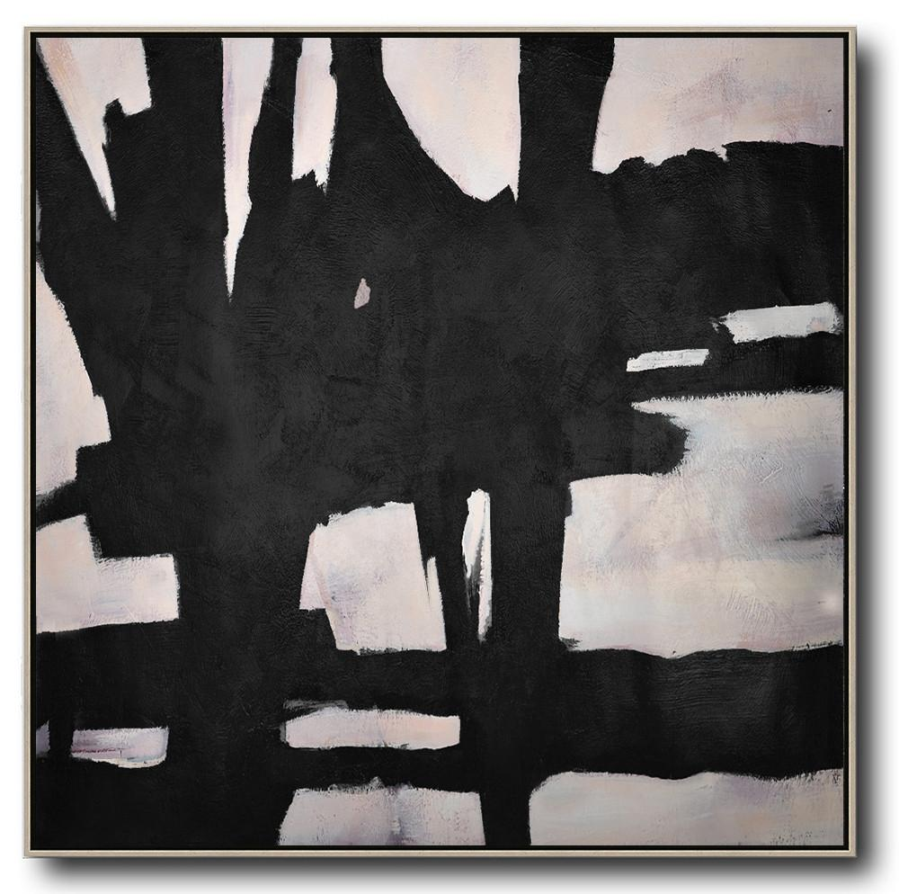 Large Abstract Art,Hand-Painted Oversized Minimal Black And White Painting,Large Canvas Art