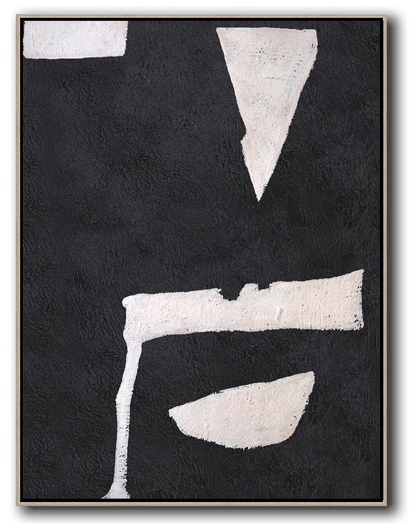 Large Modern Abstract Painting,Hand-Painted Black And White Minimal Painting On Canvas,Hand Paint Abstract Painting
